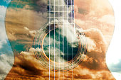 Acoustic guitar composition.Double exposure.Music concept