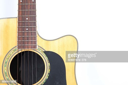 Acoustic Guitar On White Background Stock Photo Thinkstock