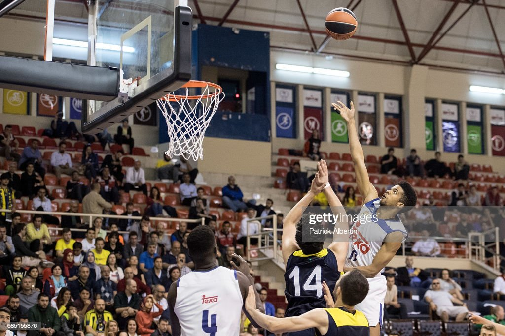 Acoydan Mccarthy, #17 of U18 Real Madrid in action during the Euroleague Basketball Adidas Next Generation Tournament game between U18 Real Madrid v U18 Fenerbahce Istanbul at Ahmet Comert on May 19, 2017 in Istanbul, Turkey.