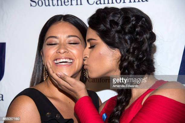 Acress Gina Rodriguez and internet personality Lilly Singh arrive at ACLU SoCal's Annual Bill of Rights Dinner at the Beverly Wilshire Four Seasons...