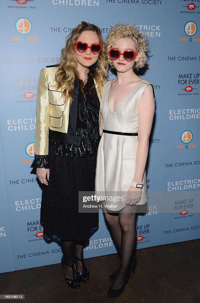 Acress Louisa Krause and Julia Garner attend The Cinema Society & Make Up For Ever screening of 'Electrick Children' at IFC Center on March 4, 2013 in New York City.