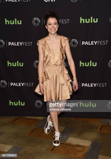 Acress Tatiana Maslany attends The Paley Center For Media's 34th Annual PaleyFest Los Angeles 'Orphan Black' screening and panel at the Dolby Theatre...