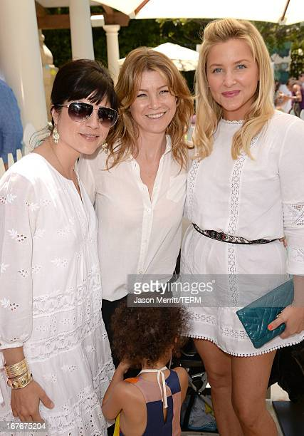 Acresses Selma Blair Ellen Pompeo and Jessica Capshaw attend the Huggies Snug Dry and Baby2Baby Mother's Day Garden Party held on April 27 2013 in...