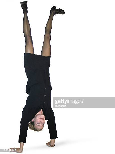 Acrobatic business woman