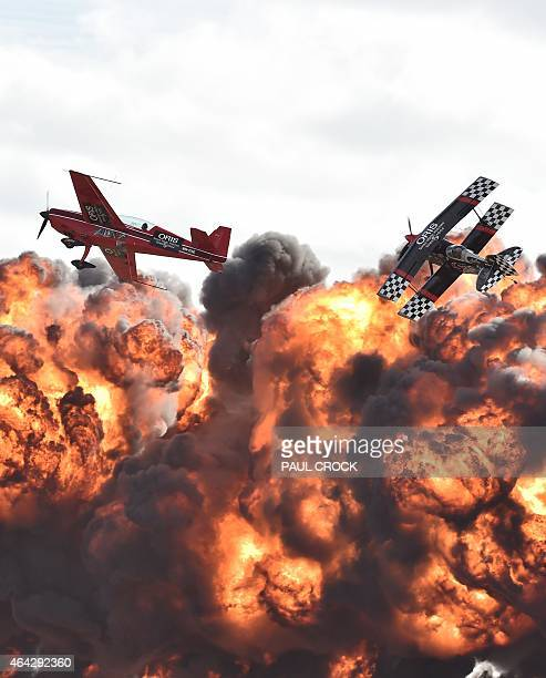 Acrobatic pilots perform at the Australian International Airshow at the Avalon Airfield in the city of Lara southwest of Melbourne on February 24...