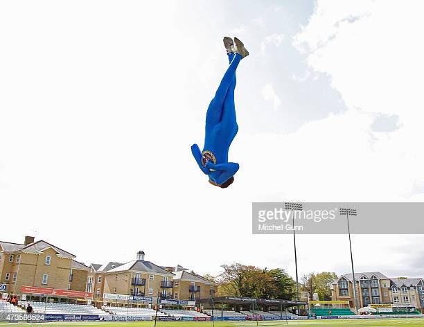 Acrobats perform before the NatWest T20 blast match between Essex Eagles and Surrey at the Essex County Cricket Ground on May 16 2015 in London...