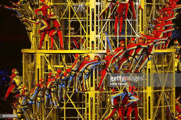 Acrobats perform during the Closing Ceremony for the Beijing 2008 Olympic Games on August 24 2008 in Beijing China