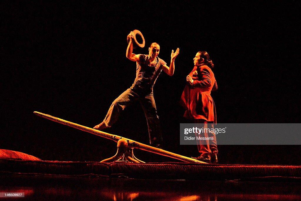 Acrobats redefine teeterboard technique in an act during the Belgian premiere of the Cirque du Soleil show Corteo on June 13, 2012 in Antwerpen, Belgium.