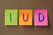 IUD (Intra Uterine Device) acronym on colorful sticky notes