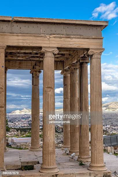 Acropolis against the city of Athens, Greece