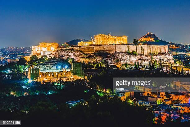 De nuit de l'Acropole à Athènes, en Grèce