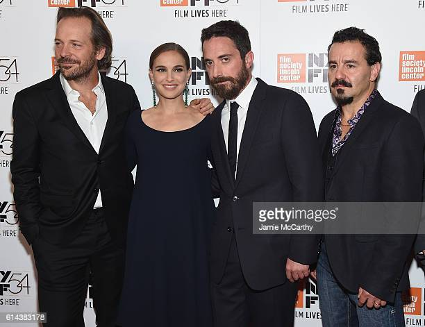 Acrors Natalie Portman and Peter Sarsgaard pose with director Pablo Larrain and actor Max Casella attend the 54th New York Film Festival 'Jackie'...