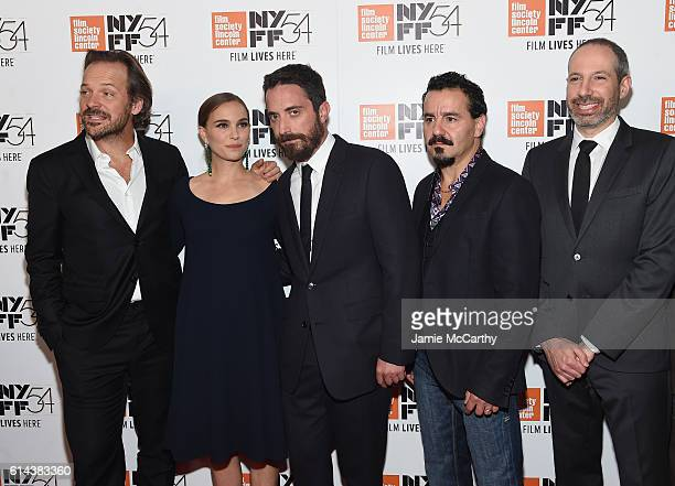 Acrors Natalie Portman and Peter Sarsgaard pose with director Pablo Larrain actor Max Casella and writer Noah Oppenheim attend the 54th New York Film...