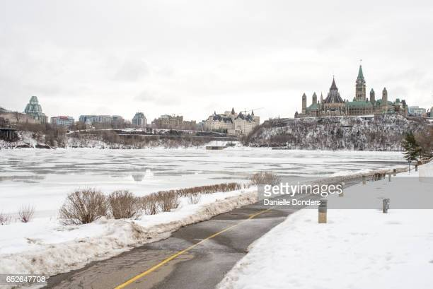 Across the frozen Ottawa River to Parliament Hill