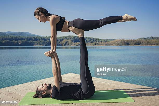 Acroyoga front plank pose