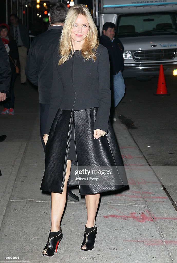 Acrtess <a gi-track='captionPersonalityLinkClicked' href=/galleries/search?phrase=Naomi+Watts&family=editorial&specificpeople=171723 ng-click='$event.stopPropagation()'>Naomi Watts</a> arrives to 'Late Show with David Letterman' at Ed Sullivan Theater on December 20, 2012 in New York City.