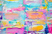Hand drawn acrylic painting. Abstract art background. Acrylic painting on canvas. Color texture. Fragment of artwork. Brushstrokes of paint. Modern art. Colorful canvas. Close up.
