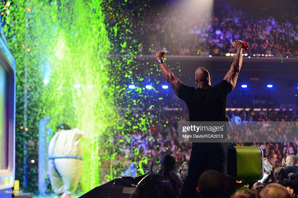 Actdor <a gi-track='captionPersonalityLinkClicked' href=/galleries/search?phrase=Dwayne+Johnson&family=editorial&specificpeople=210704 ng-click='$event.stopPropagation()'>Dwayne Johnson</a> attends Nickelodeon's 26th Annual Kids' Choice Awards at USC Galen Center on March 23, 2013 in Los Angeles, California.
