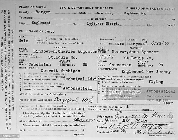 Acte de naissance de CharlesAuguste Lindbergh fils de l'aviateur américain