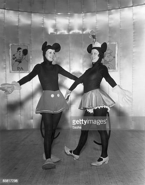 Actesses Hilda Knight and Evelyn Dall as Mickey and Minnie Mouse in a production of 'Monte Carlo Follies' at the Grosvenor House Hotel London 1934