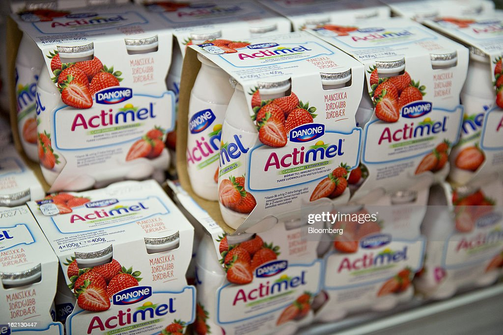 Actimel products by Danone SA stand on display inside an ICA supermarket store in Stockholm, Sweden, on Tuesday, Feb. 19, 2013. Hakon Invest AB, the minority owner of Sweden's largest food retailer ICA, agreed to take full control by acquiring partner Royal Ahold NV's 60 percent stake for 20 billion kronor ($3.1 billion). Photographer: Casper Hedberg/Bloomberg via Getty Images
