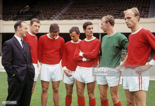 Acting Arsenal manager Bertie Mee talks with players at Highbury players are Terry Neill John Radford Tommy Baldwin Frank McLintock Bob Wilson and...