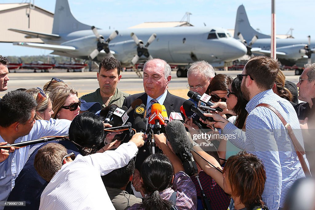 Acting Australian Prime Minister Warren Truss addresses local and international media about the search for possible Malaysian Airlines flight MH370...