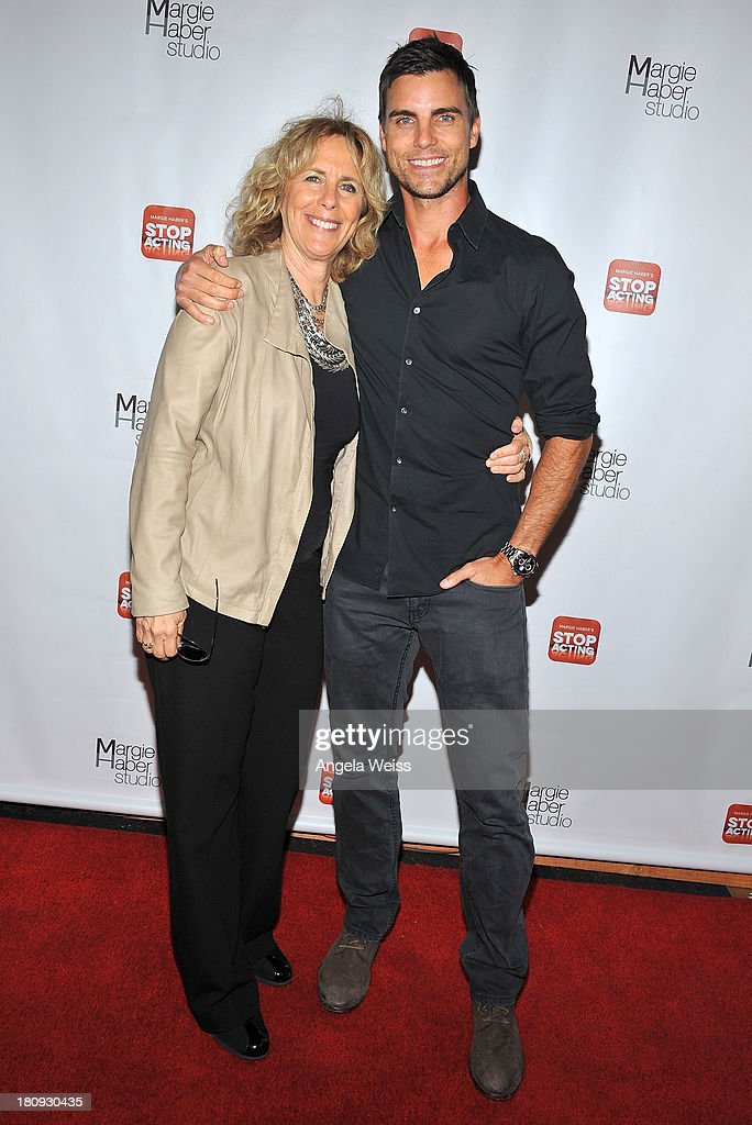 Acting coach Margie Haber and actor <a gi-track='captionPersonalityLinkClicked' href=/galleries/search?phrase=Colin+Egglesfield&family=editorial&specificpeople=584090 ng-click='$event.stopPropagation()'>Colin Egglesfield</a> arrive at Margie Haber Studio's 'Stop Acting App: The Audition Class with Margie Haber' release launch party at Aventine Hollywood on September 17, 2013 in Hollywood, California.