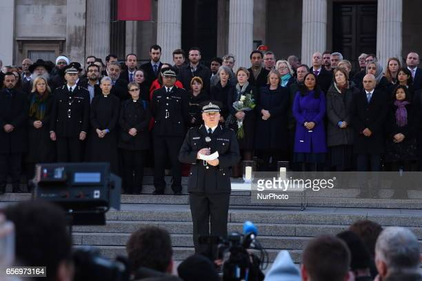 Acting Commissioner of the Metropolitan Police Craig Mackey speaks during a candlelit vigil at Trafalgar Square on March 23 2017 in London England...