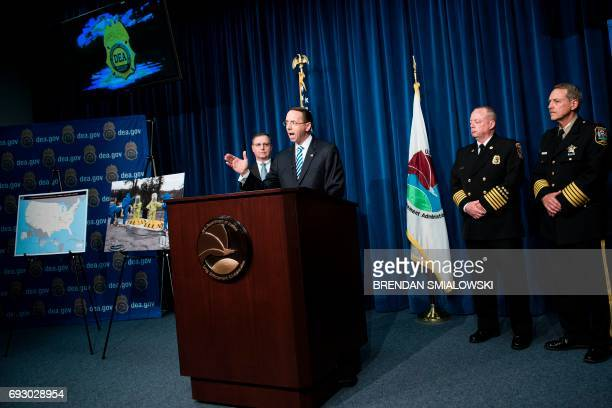 Acting DEA Administrator Chuck Rosenberg and others listen while Deputy Attorney General Rod Rosenstein speaks about fentanyl at the headquarters of...