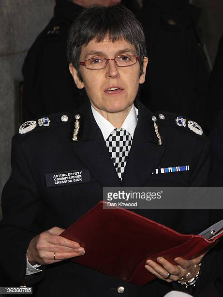 Acting Deputy Comissioner Cressida Dick speaks to the press outside the Old Bailey after the Stephen Lawrence trial on January 3 2012 in London...