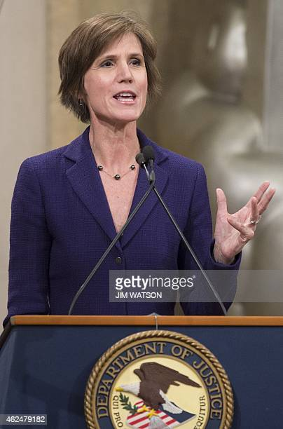 Acting Deputy US Attorney General Sally Yates speaks during an event for National Slavery and Human Trafficking Prevention Month at the Justice...