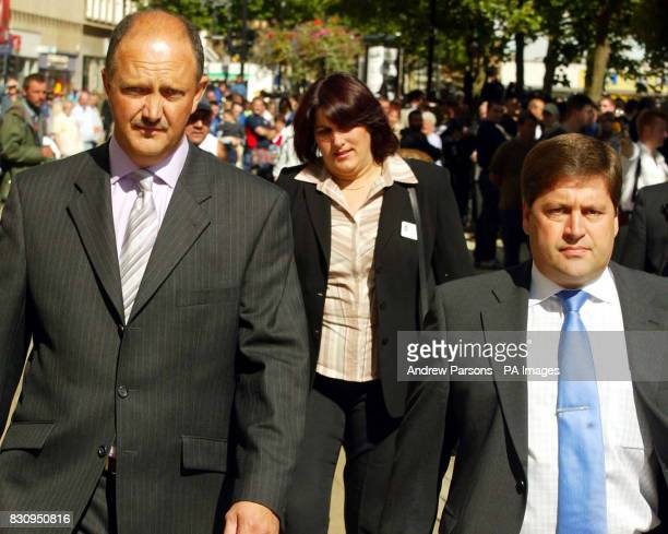 Acting Detective Chief Superintendant Chris Stevenson and DCI Andy Hebb leave Ian Huntley's first appearance at Peterbourgh Magistrates Court * A...