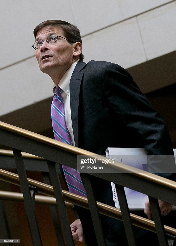 Acting Director of the CIA, Michael Morell, leaves the U.S. Capitol after meeting with members of the U.S. Senate November 28, 2012 in Washington, DC. Morell and U.S. Ambassador the to United Nations, Susan Rice, have been meeting with members of Congress over the past two days to explain her position on remarks made regarding the attack on the U.S. consulate in Benghazi, Libya.