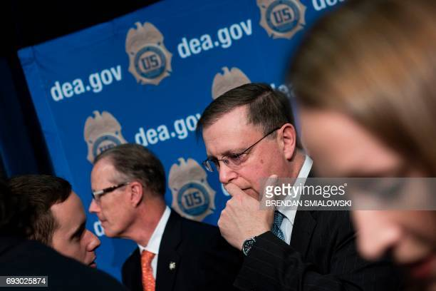 Acting Drug Enforcement Administration Administrator Chuck Rosenberg leaves after speaking about fentanyl at the headquarters of the Drug Enforcement...