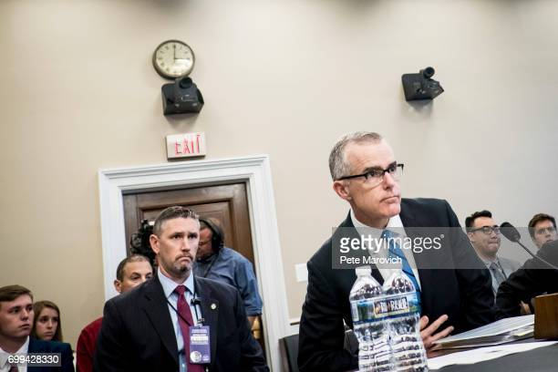Acting FBI Director Andrew McCabe arrives to testify before a House Appropriations subcommittee meeting on the FBI's budget requests for FY2018 on...