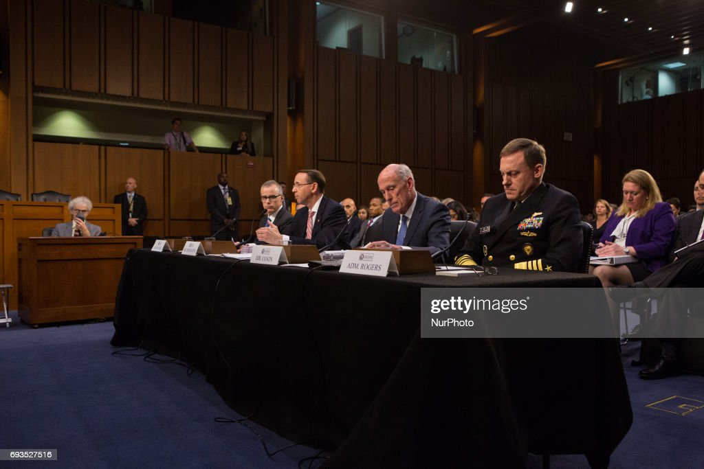 , Acting FBI Director Andrew McCabe, Deputy Attorney General Rod Rosenstein, Director of National Intelligence Dan Coats, and National Security Agency Director Adm. Mike Rogers, testified in front of the Senate Intelligence Committee, ahead of former FBI Director James Comeys testimony tomorrow, in the Senate Hart building on Capitol Hill, on Wednesday, June 7, 2017.