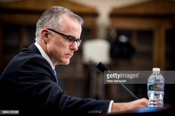 Acting FBI Director Andrew McCabe testifies before a House Appropriations subcommittee meeting on the FBI's budget requests for FY2018 on June 21...
