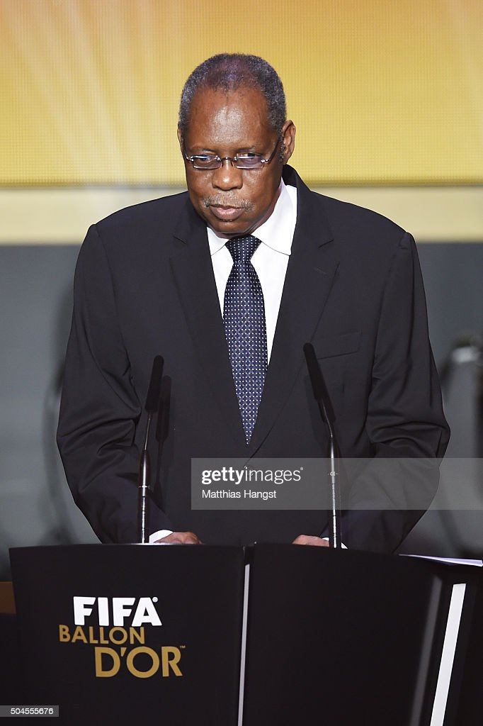 Acting FIFA President Issa Hayatou addresses the guests during the FIFA Ballon d'Or Gala 2015 at the Kongresshaus on January 11 2016 in Zurich...