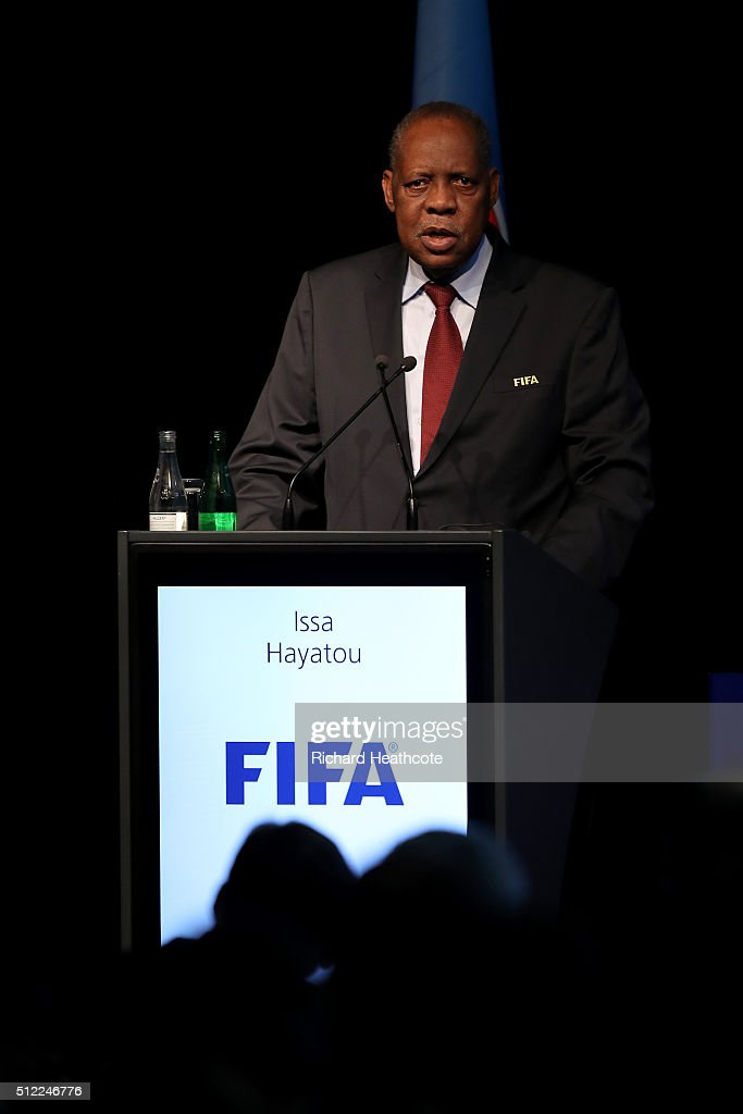 Acting FIFA President Issa Hayatou addresses the UEFA XI Extraordinary Congress at the Swissotel on February 25 2016 in Zurich Switzerland FIFA will...