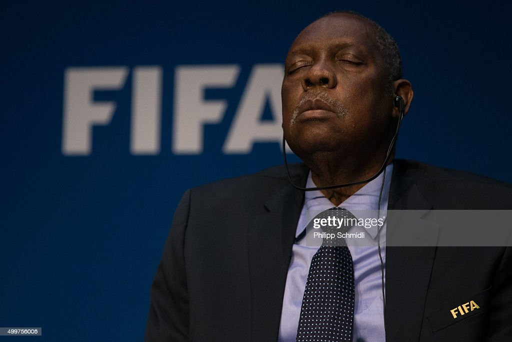 Acting FIFA President <a gi-track='captionPersonalityLinkClicked' href=/galleries/search?phrase=Issa+Hayatou&family=editorial&specificpeople=541876 ng-click='$event.stopPropagation()'>Issa Hayatou</a> attends a FIFA Executive Committee Meeting Press Conference at the FIFA headquarters on December 3, 2015 in Zurich, Switzerland.