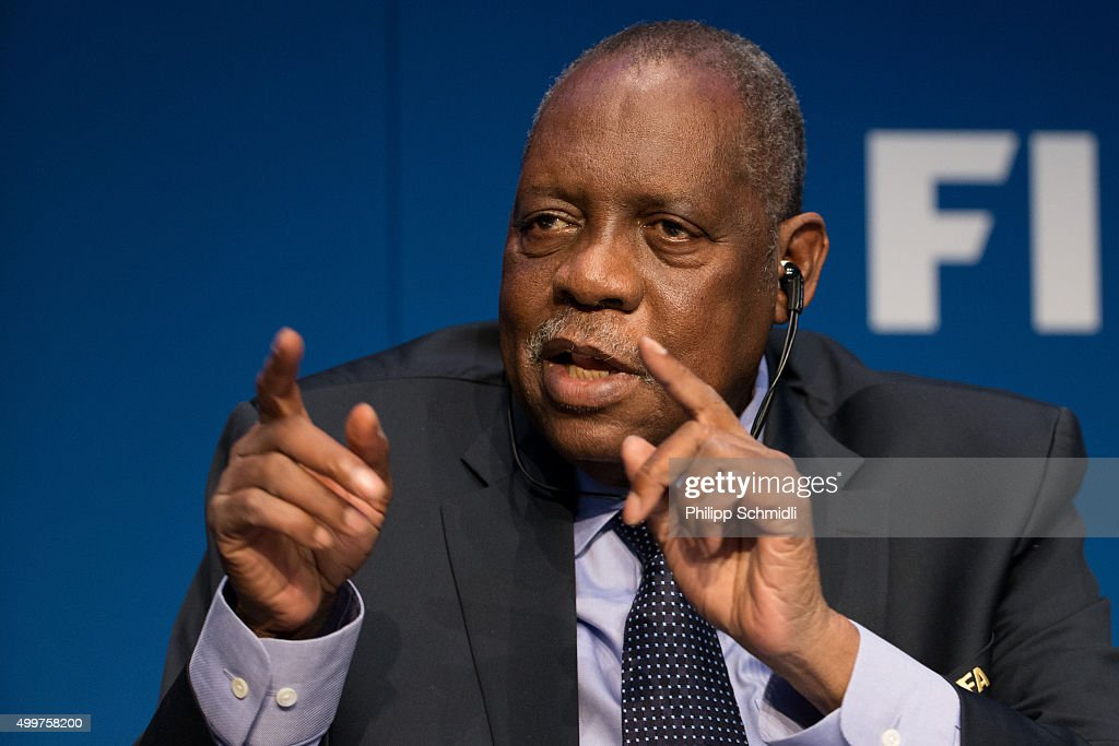 Acting FIFA President Issa Hayatou attends a FIFA Executive Committee Meeting Press Conference at the FIFA headquarters on December 3 2015 in Zurich...