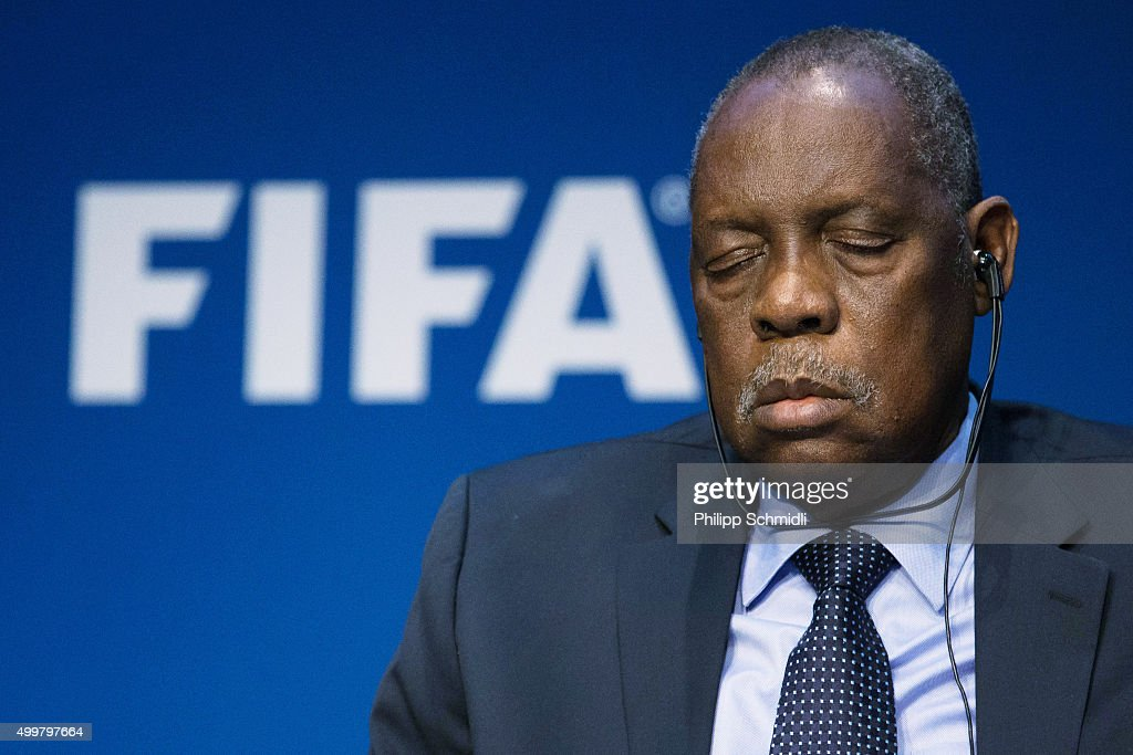 Acting FIFA President Issa Hayatou sleeps during the FIFA Executive Committee Meeting Press Conference at the FIFA headquarters on December 3 2015 in...