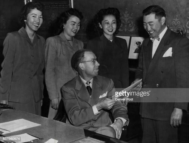Acting Gov Walter Johnson is shown as he extended a message of welcome to George Masunaga of the Japanese American Citizen league which will hold its...