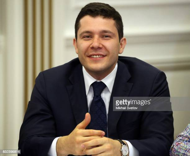 Acting Governor of Kaliningrad Oblast Anton Alikhanov smiles during the meeting on transport infrastructure development on August 16 2017 in...