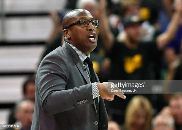 Acting head coach Mike Brown of the Golden State Warriors gestures on the sideline against the Utah Jazz in Game Three of the Western Conference...