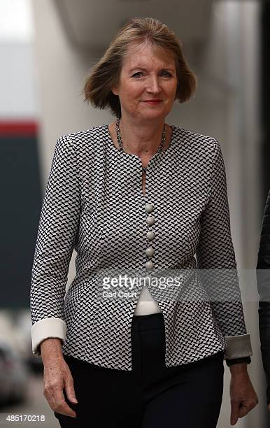 Acting Labour Party leader Harriet Harman prepares to speak to the media on August 25 2015 in Stevenage England Ms Harman spoke to the media...