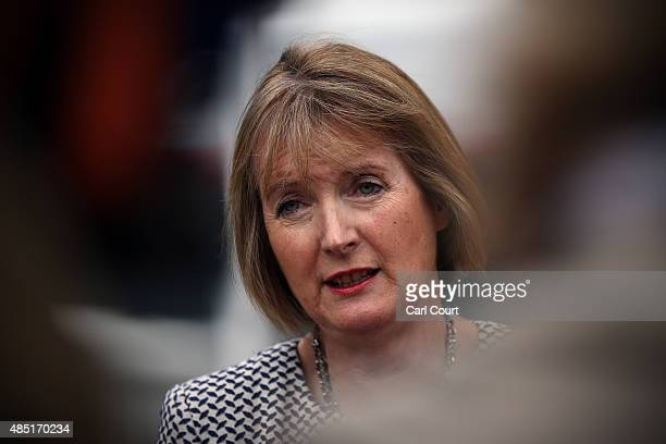 Acting Labour Party leader Harriet Harman speaks to the media on August 25 2015 in Stevenage England Ms Harman spoke to the media following a meeting...