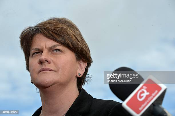 Acting Northern Ireland First Minister Arlene Foster holds a press conference at Stormont on September 21 2015 in Belfast Northern Ireland The...