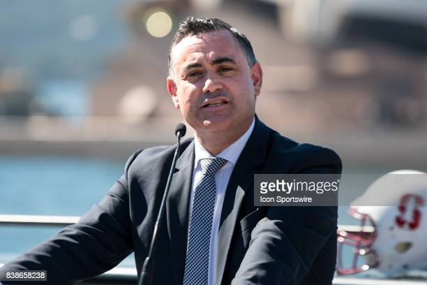 Acting Premier John Barilaro at the official NSW Government welcoming of Stanford Cardinal and Rice Owls on August 22 in Sydney Australia